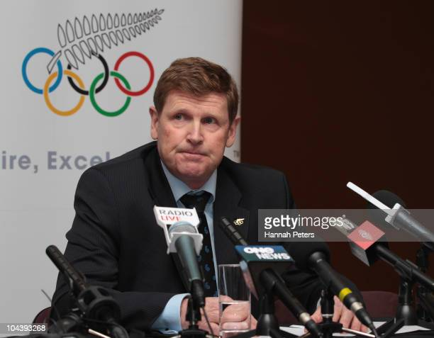 New Zealand Olympic Committee President Mike Stanley briefs the media on their decision to continue with their plans for athletes to compete at the...