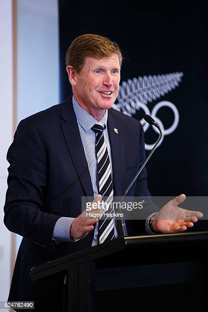 New Zealand Olympic Committee President Mike Stanley speaks during the NZOC Olympic Order Presentation for Amster Reedy at Wharewaka Function Centre...