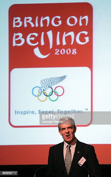 New Zealand Olympic Committee Secretary General Barry Maister speaks at the official launch of the New Zealand Olympic team uniform at Villa Maria on...