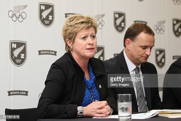 New Zealand Olympic Committee Secretary General Kereyn Smith and New Zealand Football CEO Grant McKavanagh Address the media during the New Zealand...