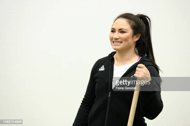 New Zealand Olympic weightlifter Megan Signal teaches the Black Ferns how to lift during a New Zealand Black Ferns training session at Kolmar...