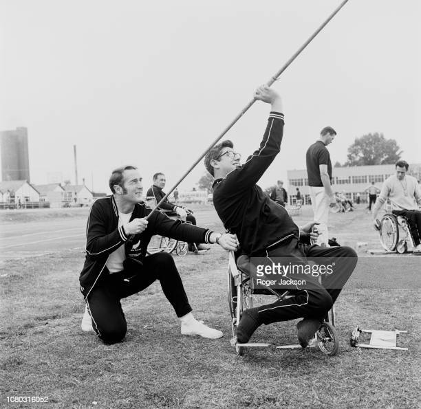 New Zealand Paralympic athlete Jim Savage prepares to to make a practice javelin throw at the Stoke Mandeville ground in preparation for the...