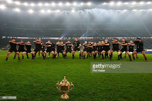 New Zealand perform a Haka to celebrate winning the Webb Ellis Cup at the 2015 Rugby World Cup Final match between New Zealand and Australia at...