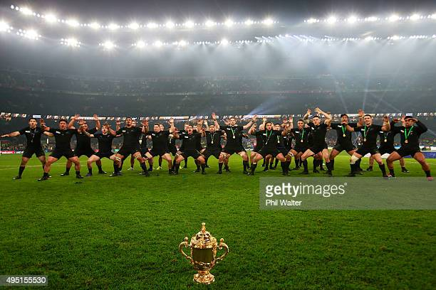 New Zealand perform a Haka to celebrate winning the Webb Ellis Cup during the 2015 Rugby World Cup Final match between New Zealand and Australia at...