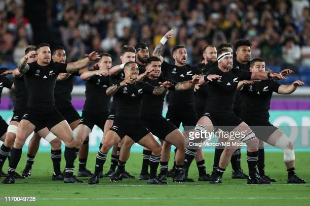 New Zealand perform the Haka ahead of the Rugby World Cup 2019 Group B game between New Zealand and South Africa at International Stadium Yokohama on...