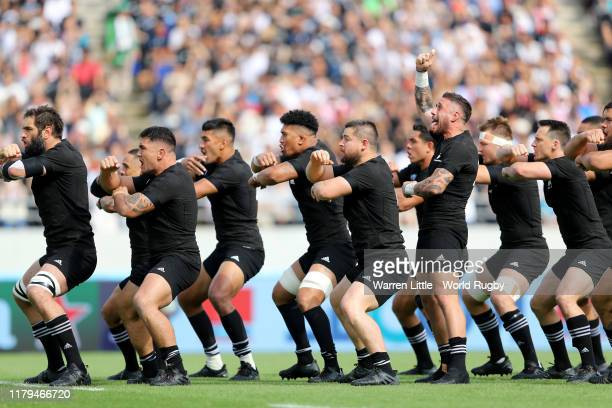 New Zealand perform the Haka ahead of the Rugby World Cup 2019 Group B game between New Zealand and Namibia at Tokyo Stadium on October 06, 2019 in...