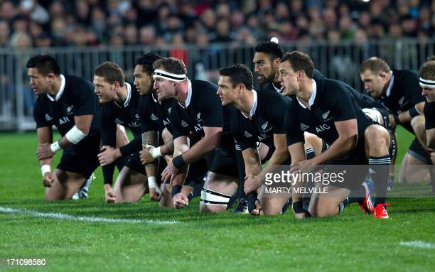 New Zealand perform the Haka before the third rugby union match between the New Zealand All Blacks and France at Yarrow stadium in New Plymouth on...