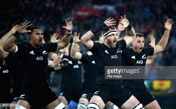 New Zealand perform the Haka prior to the International Test match between the New Zealand All Blacks and the British Irish Lions at Westpac Stadium...