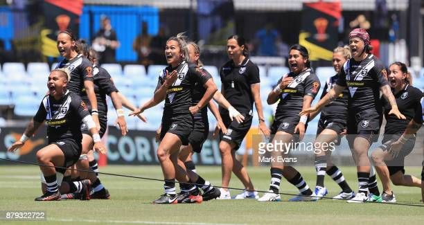 New Zealand perforn the Haka before the 2017 Rugby League World Cup Semi Final match between New Zealand and England at Southern Cross Group Stadium...