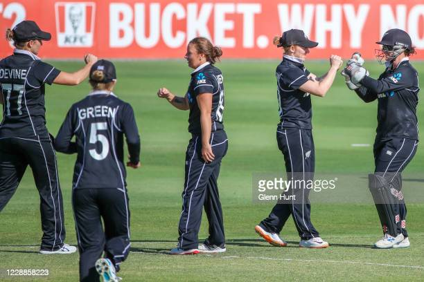 New Zealand players celebrate after getting the wicket of Rachel Haynes of Australia during game one in the women's One Day International Series...