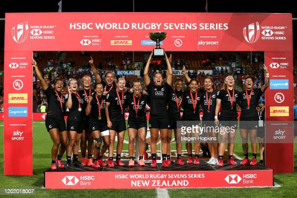 New Zealand players celebrate after winning the Cup Final match between Canada and New Zealand at the 2020 HSBC Sevens at FMG Stadium Waikato on...