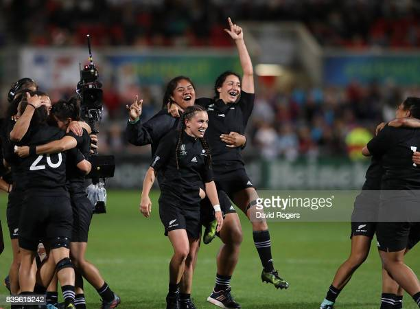 New Zealand players celebrate after winning the Women's Rugby World Cup 2017 Final between England and New Zealand on August 26 2017 in Belfast...