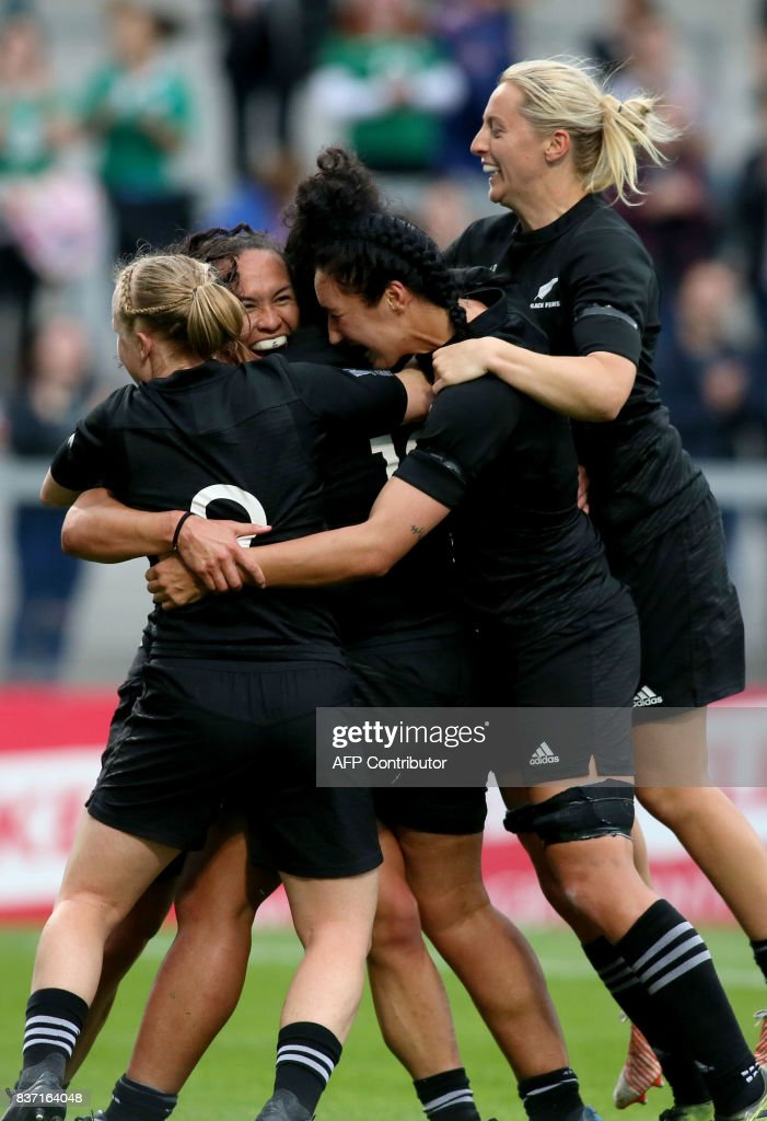 New Zealand players celebrate their second try scored by New Zealand's wing Portia Woodman during the Women's Rugby World Cup 2017 semi-final match between New Zealand and USA at The Kingspan Stadium in Belfast on August 22, 2017. PHOTO / Paul FAITH / RESTRICTED