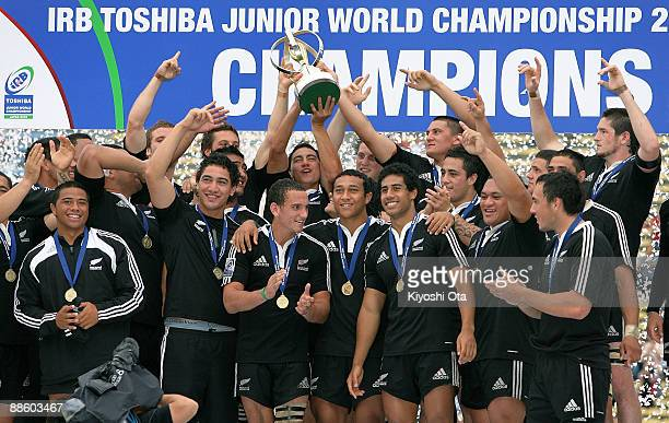 New Zealand players celebrate their victory over England during the IRB Junior World Championship Japan 2009 Final match between England and New...