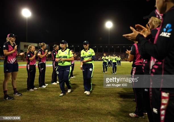 New Zealand players form a guard of honour for the Irish players during the ICC Women's World T20 2018 match between New Zealand and Ireland at...