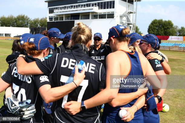 New Zealand players gather prior to the ICC Women's World Cup warm up match between India and New Zealand at The County Ground on June 19 2017 in...