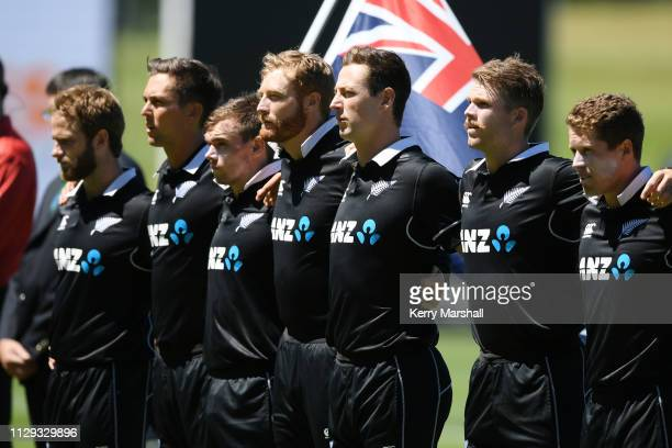 New Zealand players line up for national anthems before Game 1 of the One Day International series between New Zealand v Bangladesh at McLean Park on...