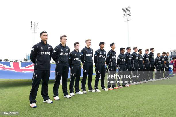 New Zealand players line up for the anthems during the ICC U19 Cricket World Cup match between New Zealand and the West Indies at Bay Oval on January...