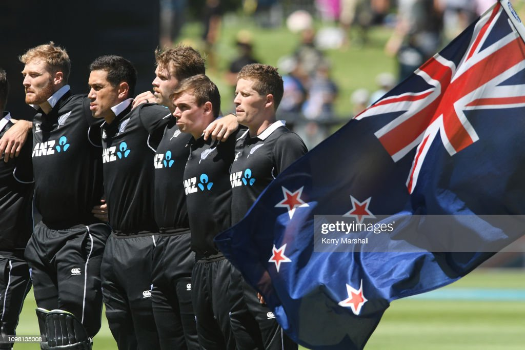 New Zealand players line up for the national anthem before