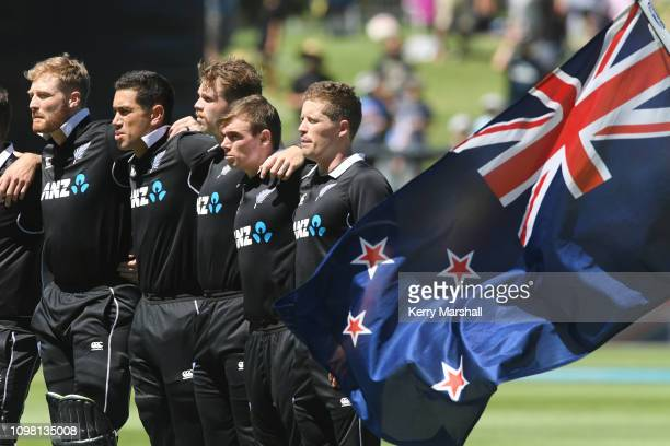 New Zealand players line up for the national anthem before game one of the One Day International series between New Zealand and India at McLean Park...