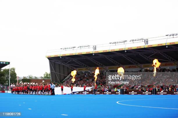 New Zealand players line up for their national anthem ahead of the Women's FIH Field Hockey Pro League match between Great Britain and New Zealand at...