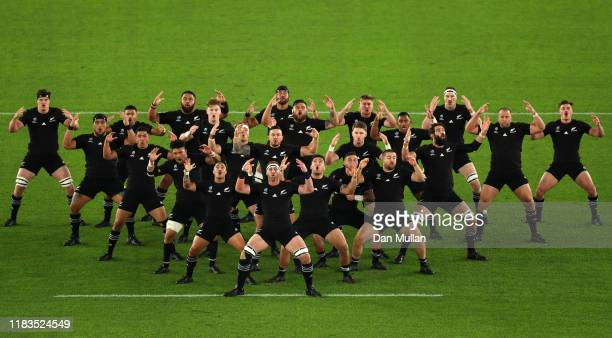 New Zealand players perform a haka during the Rugby World Cup 2019 Semi-Final match between England and New Zealand at International Stadium Yokohama...