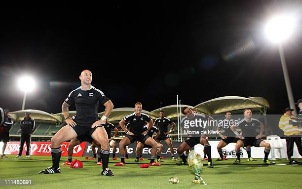 New Zealand players perform a Haka led by their captain DJ Forbes after winning the Cup Final match during day two of the 2011 Adelaide IRB Rugby...
