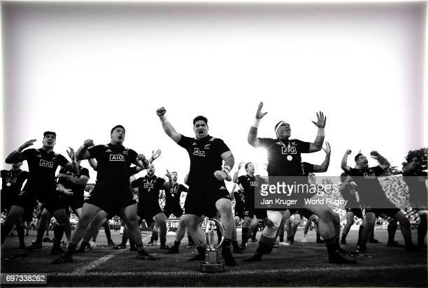 New Zealand players perform a victory haka after the World Rugby via Getty Images U20 Championship final match between England and New Zealand at...