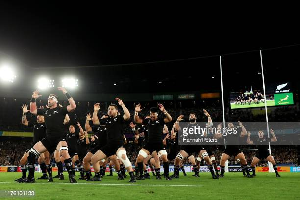 New Zealand players perform the Haka prior to the Rugby World Cup 2019 Group B game between New Zealand and South Africa at International Stadium...