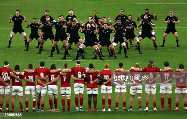 New Zealand players perform the Haka prior to the Rugby World Cup 2019 Group B game between New Zealand and Canada at Oita Stadium on October 02,...