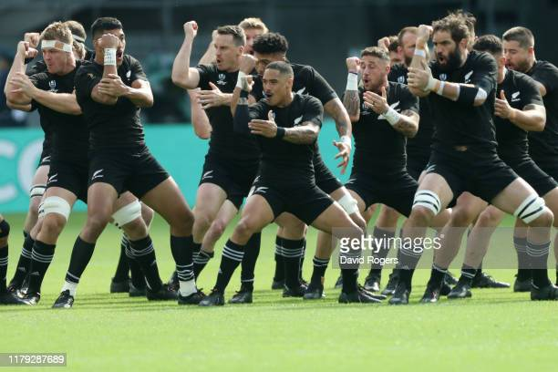 New Zealand players perform the Haka prior to the Rugby World Cup 2019 Group B game between New Zealand and Namibia at Tokyo Stadium on October 06,...