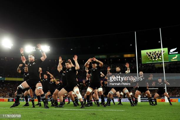 New Zealand players performs the Haka prior to the Rugby World Cup 2019 Group B game between New Zealand and South Africa at International Stadium...