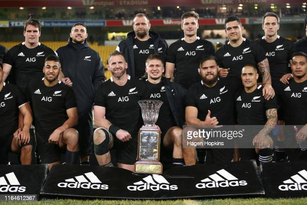 New Zealand players pose with the Freedom Cup during the 2019 Rugby Championship Test Match between New Zealand and South Africa at Westpac Stadium...