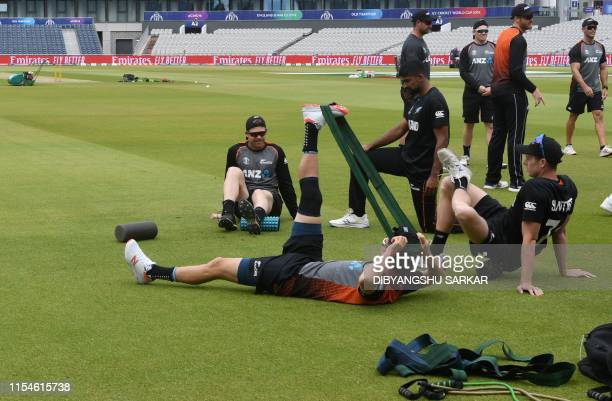 New Zealand players stretch as they take part in a training session at Old Trafford in Manchester northwest England on July 8 ahead of their 2019...