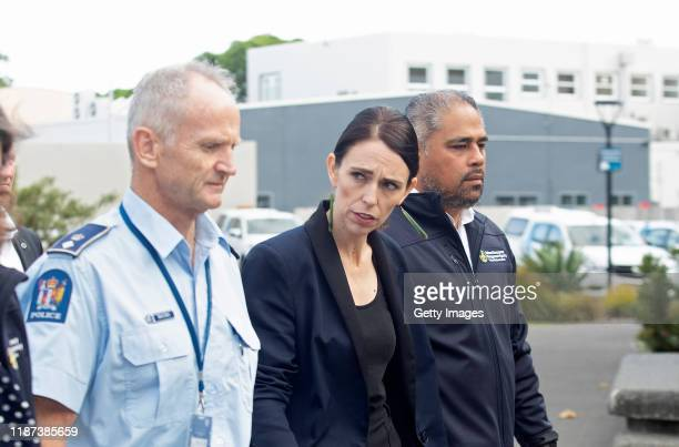 New Zealand PM Jacinda Ardern arrives for a press conference as a volcano erupts In Bay Of Plenty on December 10 2019 in Whakatane New Zealand One...
