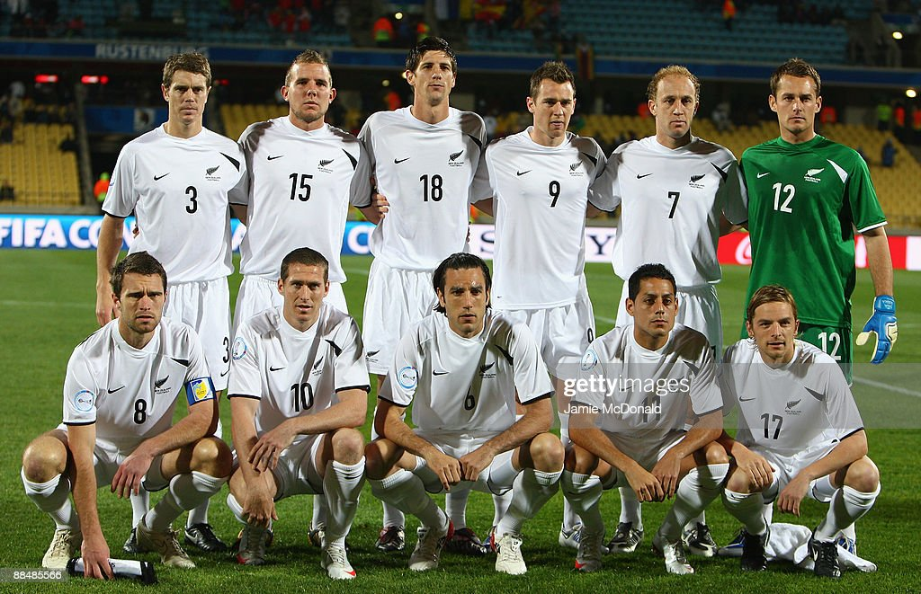 New Zealand pose for a group photograph during the FIFA Confederations Cup match between New Zealand and Spain at Royal Bafokeng Stadium on June 14, 2009 in Rustenburg, South Africa.