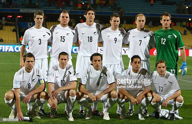 New Zealand pose for a group photograph during the FIFA Confederations Cup match between New Zealand and Spain at Royal Bafokeng Stadium on June 14...