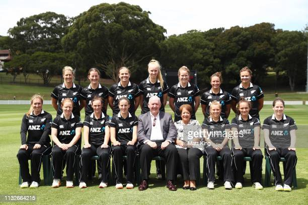 New Zealand pose with the GovernorGeneral of Australia Peter Cosgrove and Lynne Cosgrove during the GovernorGeneral's XI v New Zealand Tour match at...