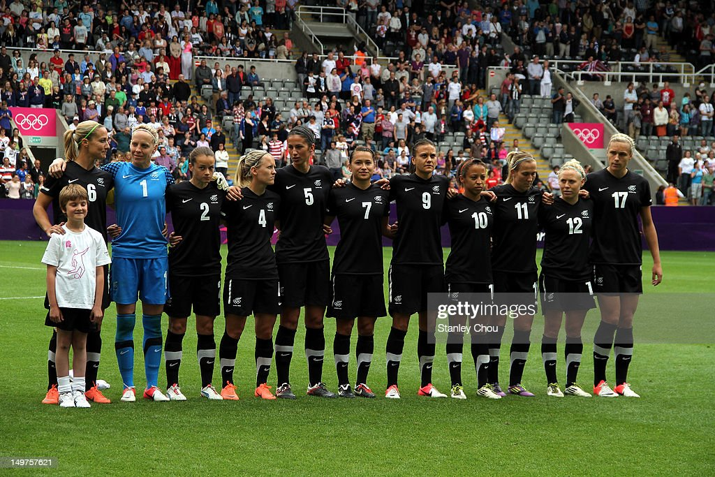 New Zealand poses before kick off during the Women's Football Quarter Final match between United States and New Zealand, on Day 7 of the London 2012 Olympic Games at St James' Park on August 3, 2012 in Newcastle upon Tyne, England.