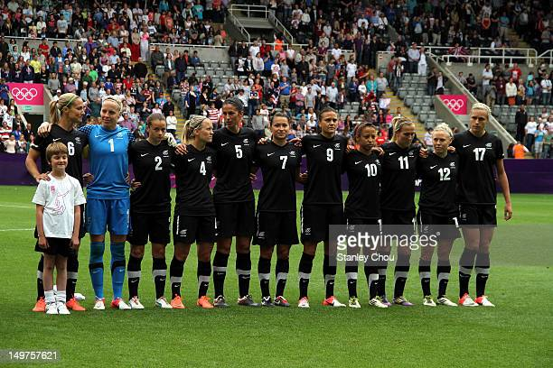 New Zealand poses before kick off during the Women's Football Quarter Final match between United States and New Zealand on Day 7 of the London 2012...
