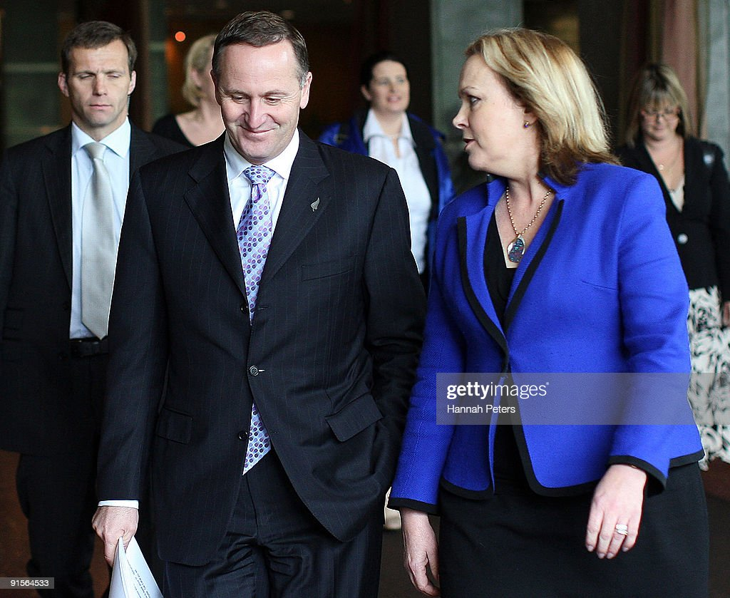New Zealand Prime Mininster John Key arrives with Police Minister Judith Collins to announce the government's new anti-pseudoephedrine package on October 8, 2009 in Auckland, New Zealand. The government has announced a ban on over-the-counter sale of the drug pseudoephedrine, or P, which is commonly used in cold and flu medications. Addiction to the drug has become an increasing problem in New Zealand and the government will invest a further NZ$22 million for P treatment over the next three years and increase investment in special detox facilities.