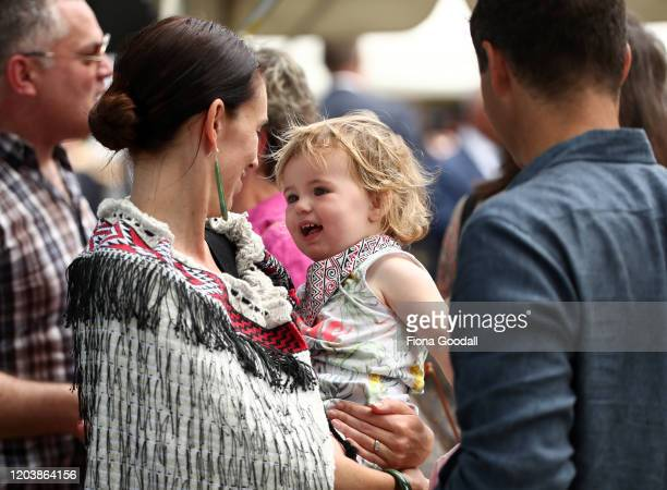 New Zealand Prime Minister and her partner Clarke Gayford with their daughter Neve Gayford at the upper Treaty grounds at Waitangi on February 04,...