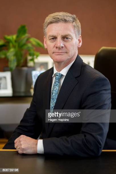 New Zealand Prime Minister and National Party leader Bill English poses for portraits at Parliament on July 5 2017 in Wellington New Zealand