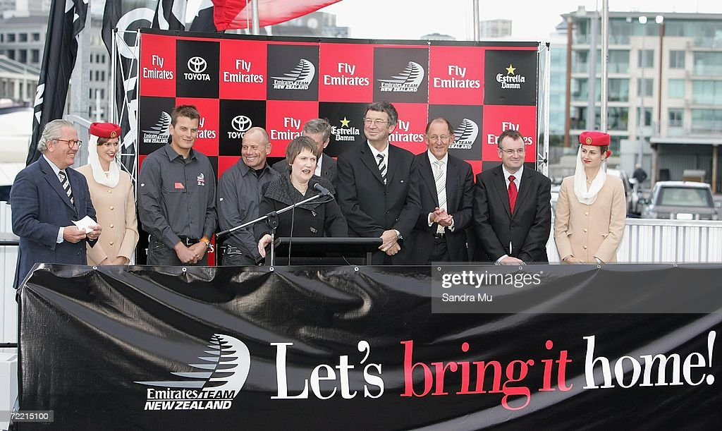 New Zealand Prime Minister Helen Clark addresses the crowd before christening the new boat with champagne during the Team New Zealand America's Cup boat launch at Viaduct Harbour on October 19, 2006 in Auckland, New Zealand.