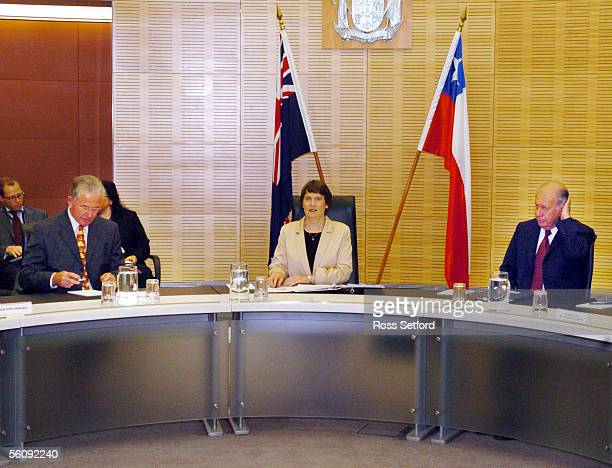 New Zealand Prime Minister Helen Clark centre with her deputy Michael Cullen left and the Chilean President Ricardo Lagos right at a government...