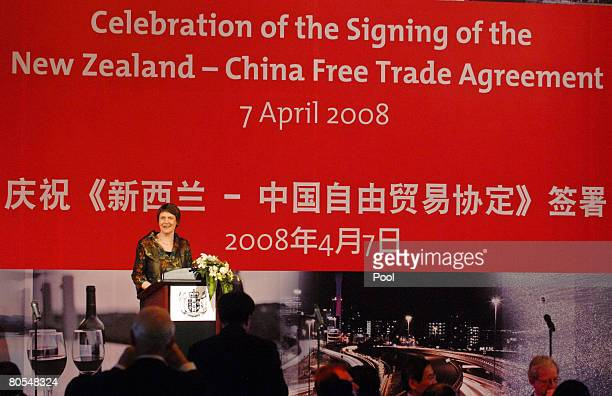 New Zealand Prime Minister Helen Clark delivers a speech at the celebration party for the FTA agreement between New Zealand and China on April 7 2008...