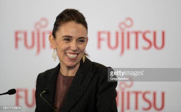 New Zealand Prime Minister Jacinda Ardern addresses business leaders who gathered for the Business NZ pre budget lunch on May 13, 2021 in Auckland,...
