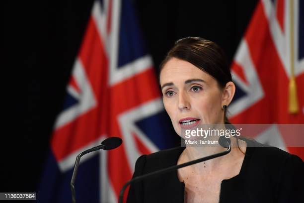 New Zealand Prime Minister Jacinda Ardern addresses the media on March 16 2019 in Wellington New Zealand At least 49 people are confirmed dead with...