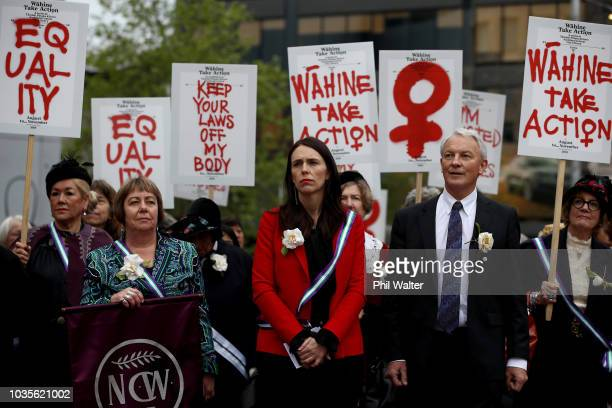 New Zealand Prime Minister Jacinda Ardern and Auckland Mayor Phil Goff attend the Sunrise Celebration at Aotea Square on September 19, 2018 in...
