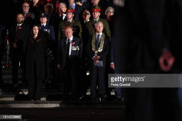 New Zealand Prime Minister Jacinda Ardern and Auckland mayor Phil Goff join the gathering to commemorate Anzac Day at the Auckland War Memorial...